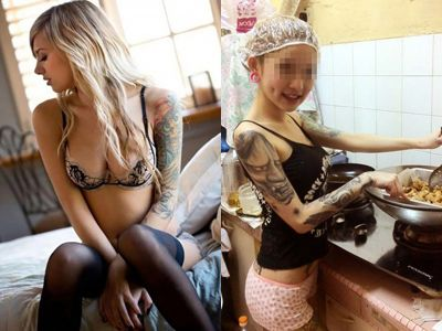 【エロ画像】服脱いだらタトゥーだらけでドン引きした女のえろ画像30枚