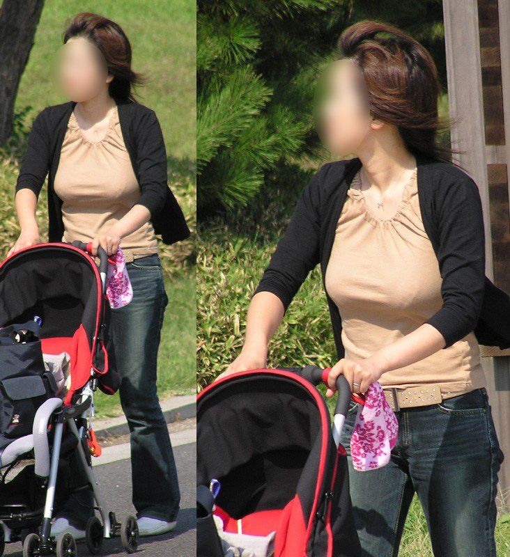 街撮り盗撮した子連れ人妻の着衣巨乳エロ画像23枚・16枚目の画像