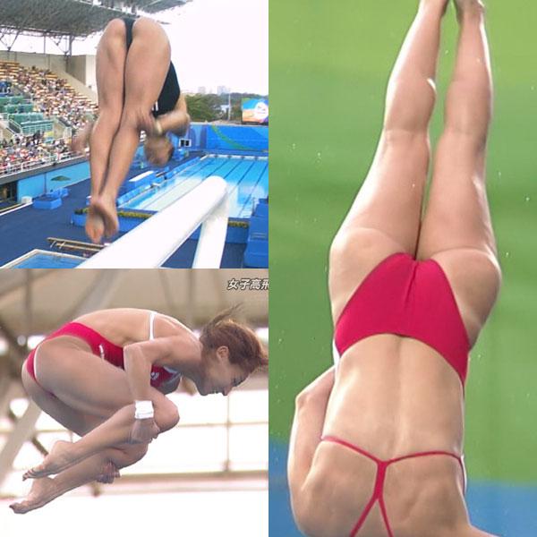 (リオ五輪)女子高飛び込みで選手たちのミズ着がお尻に食い込みお乳も出