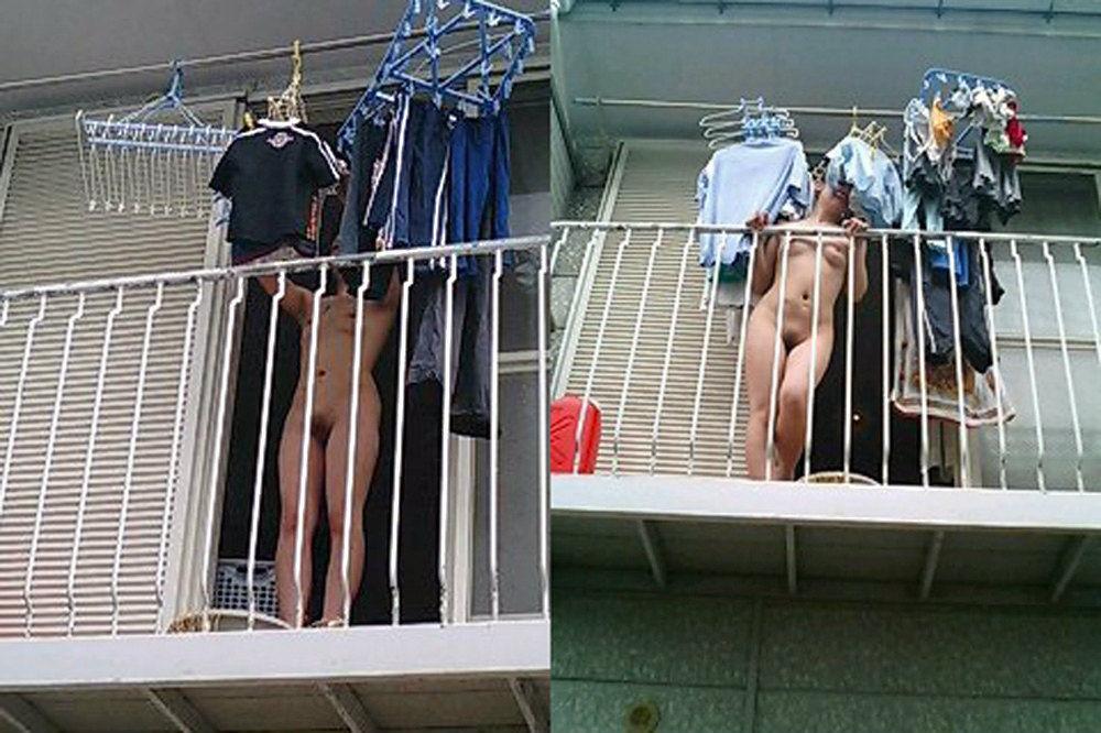 洗濯物を無防備な姿で干している素人さんの盗撮エロ画像23枚・18枚目の画像