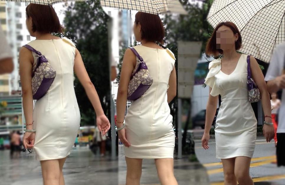 ワンピースで透けパンして街を歩く素人娘を盗撮した画像25枚・33枚目の画像