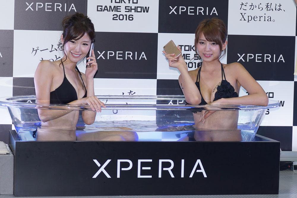 Xperia風呂のミズ着モデル 早瀬あや&美波千夏えろ写真42枚☆イベコンがえろすぎた東京GAMEショウ2016wwwwww