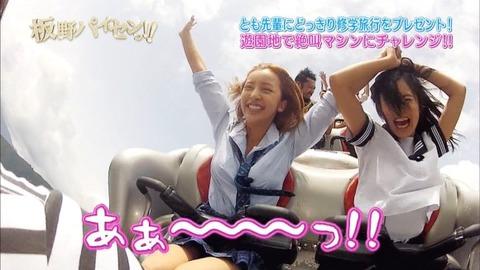 芸能お宝画像★板野と小島のジェットコースターの風圧でおっぱいくっきり見えすぎwwww・14枚目の画像