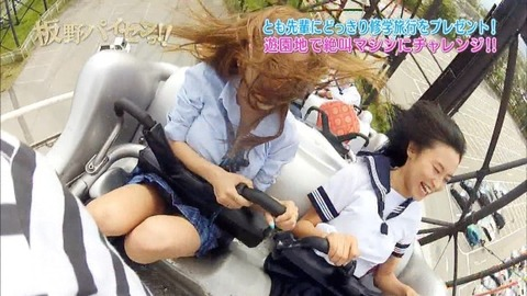 芸能お宝画像★板野と小島のジェットコースターの風圧でおっぱいくっきり見えすぎwwww・25枚目の画像