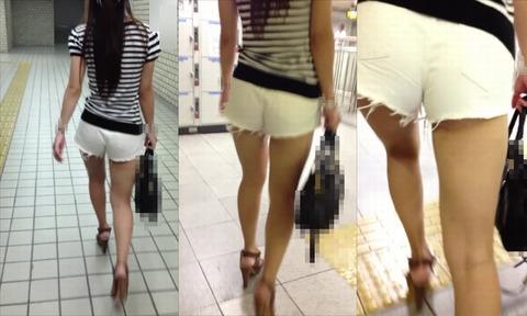 ケツをハミ散らかしながら歩く若いお姉さんの街撮りwwwww★素人街撮りエロ画像・3枚目の画像