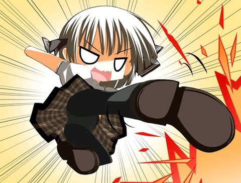 【2次元】蹴りエロ画像ww パンツが見えるのを惜しまず敵を倒しに行く様 2次元【蹴りでパンチラ】エロ画像・5枚目の画像
