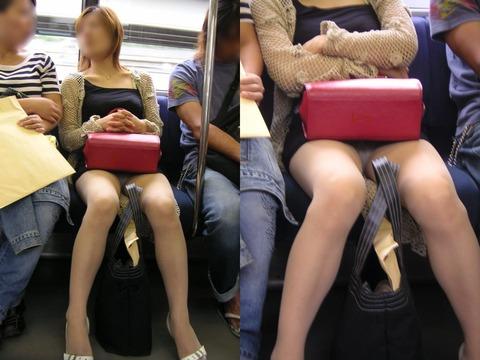 パンチラ素人が目の前にいる電車内での盗撮エロ画像30枚・9枚目の画像